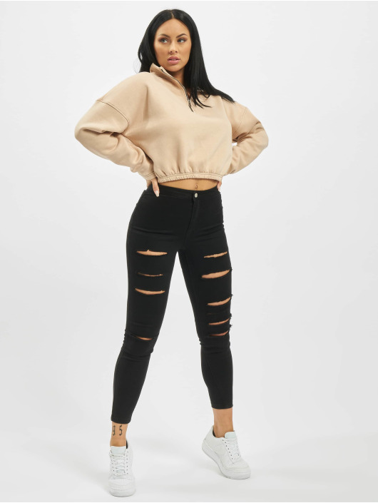 Missguided Swetry Zip Front High Neck Gathered Waist bezowy