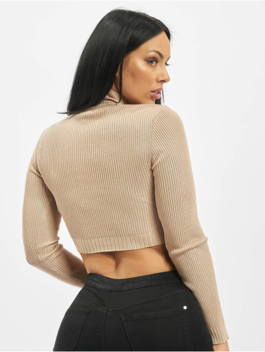Missguided Swetry High Neck Rib Detail Knitted bezowy