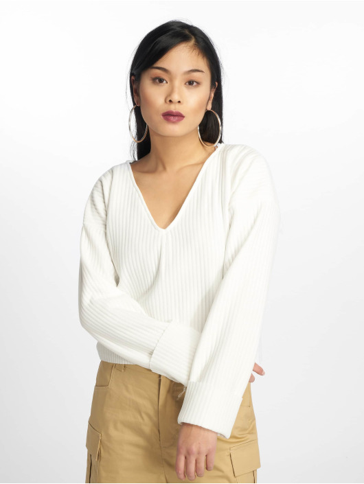 Missguided Swetry Boxy Drop Shoulder bialy