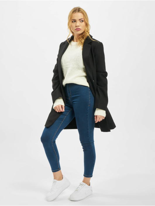 Missguided Swetry Petite Crew Neck With Rolled Hem bialy