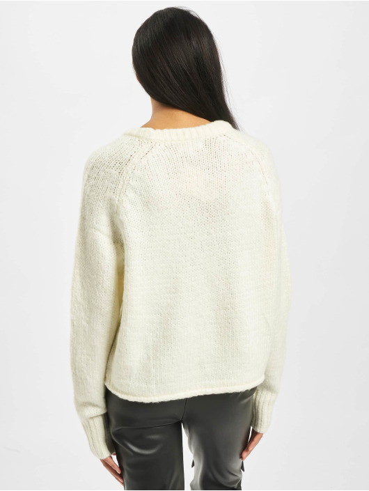 Missguided Swetry Cosy Crew Neck Roll Hem bialy