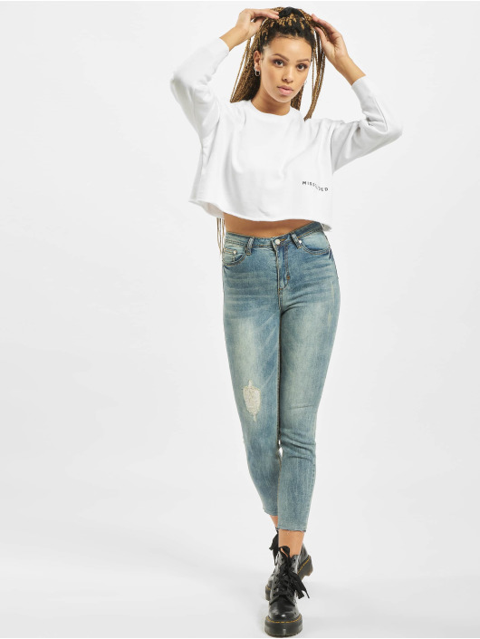 Missguided Swetry DS Raw Hem bialy