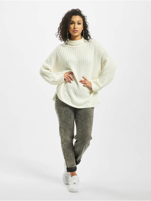 Missguided Swetry Premium Roll Neck Step Hem bialy