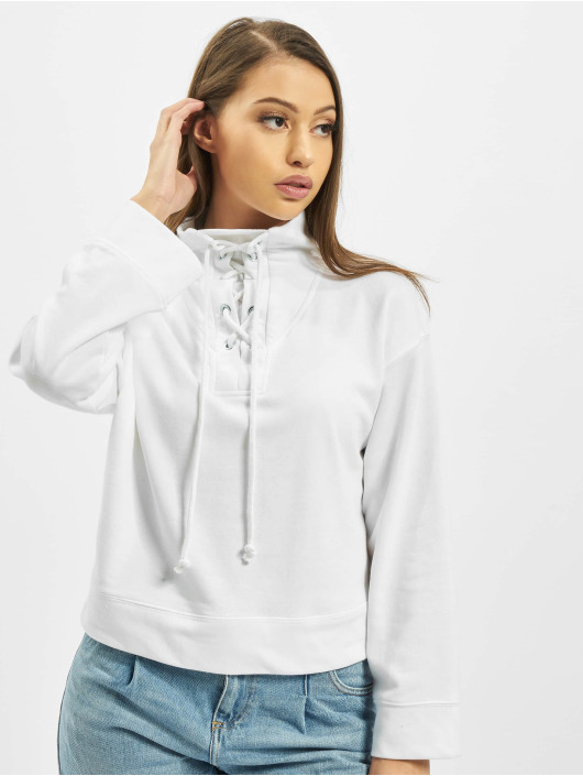 Missguided Swetry High Neck Tie Detail bialy