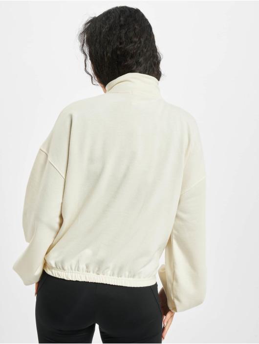 Missguided Swetry Half Zip Kangroo Pocket bialy