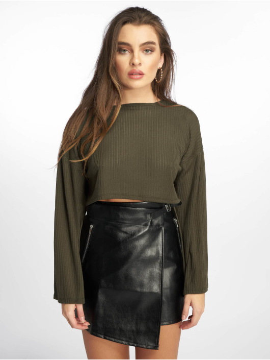 Missguided Swetry Ribbed Flare oliwkowy