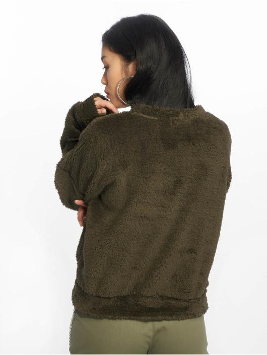 Missguided Swetry Borg Pocket Front oliwkowy