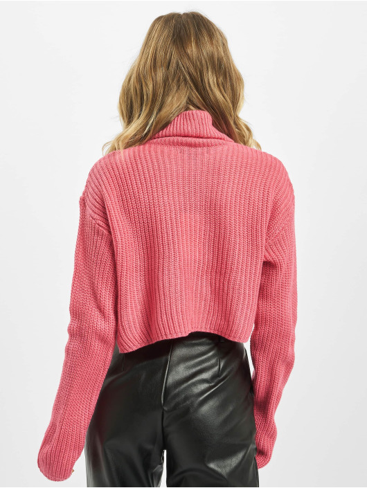 Missguided Swetry Petite Core Roll Neck Crop pink