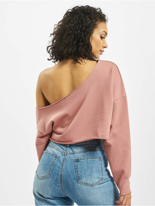 Missguided Swetry Off Shoulder rózowy