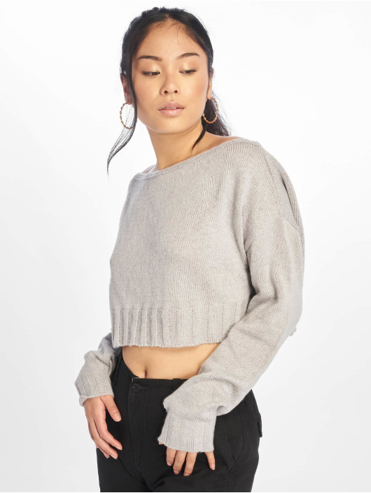 Missguided Swetry Brushed Off The Shoulder Knitted Jumper szary