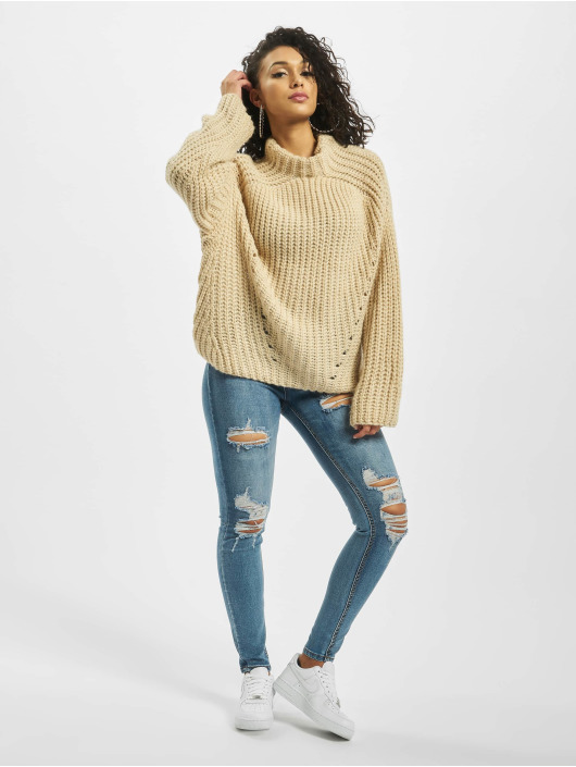 Missguided Swetry Chunky Grown On Neck szary