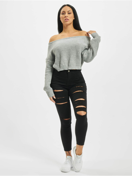 Missguided Swetry Petite Core Off Shoulder szary