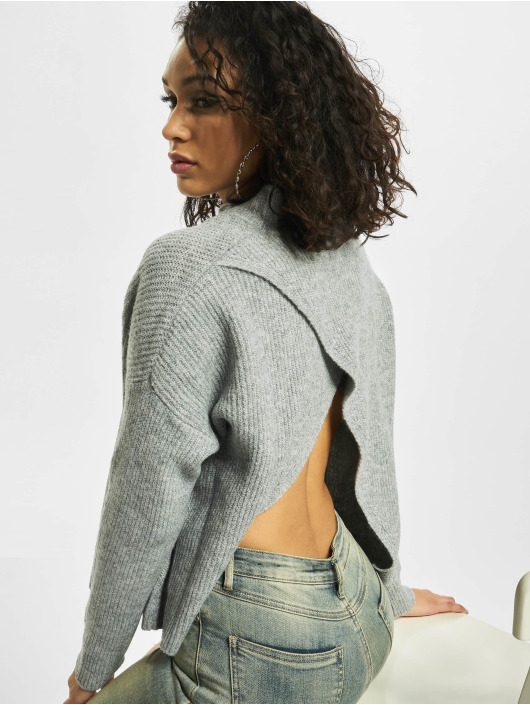Missguided Swetry Petite Cut Out Back Crew Neck szary