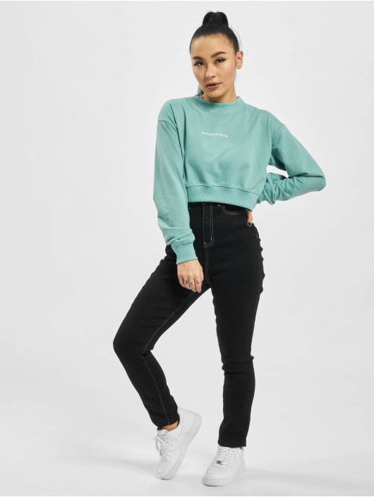 Missguided Swetry Cropped Rib Hem turkusowy