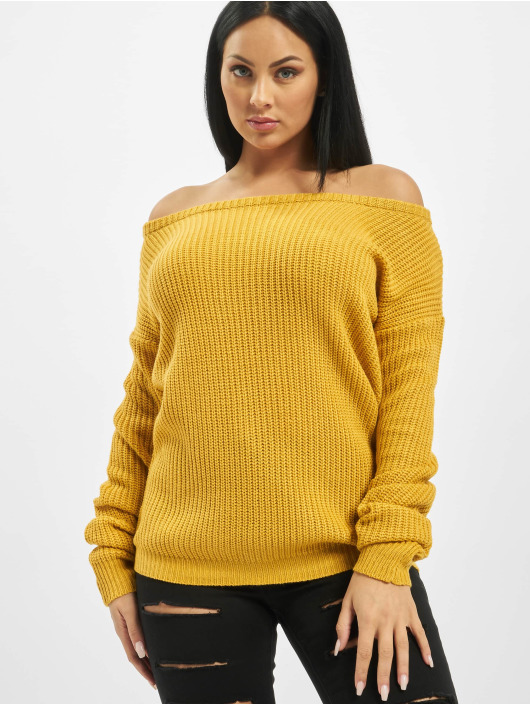 Missguided Swetry Tall Core Off Shoulder zólty