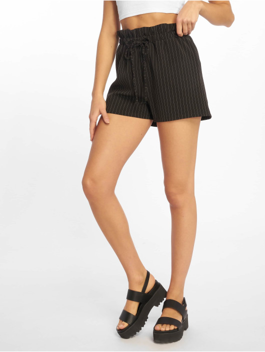 Missguided Szorty Pinstripe Gathered Wasit czarny