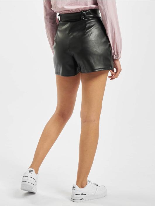 Missguided Szorty Short Faux Leather Belt Detail czarny