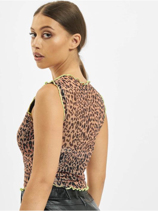 Missguided T-paidat Contrast Binding Leopard Print Mesh ruskea
