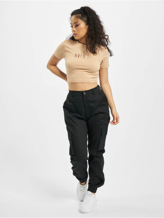 Missguided T-Shirt Petite Slogan Emb Cap Sleeve Crop beige