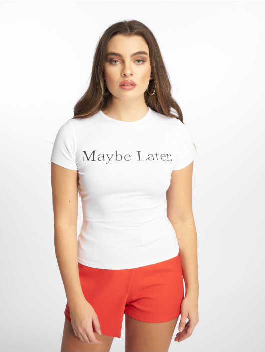 Missguided T-Shirt Slogan Maybe Later blanc