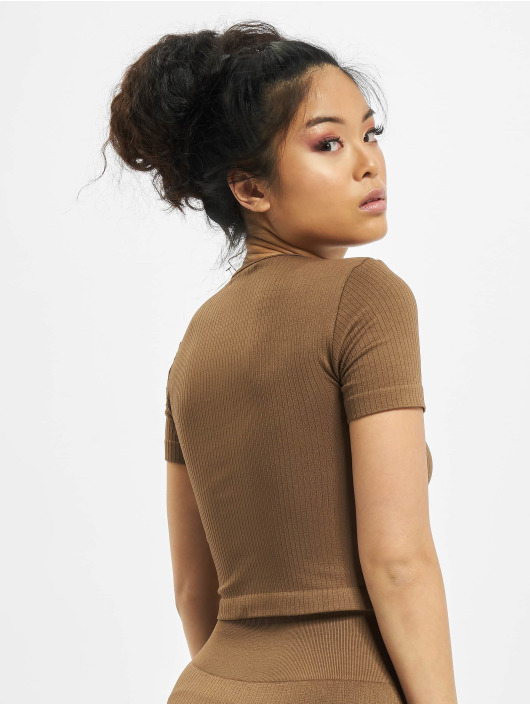Missguided T-Shirt Seamless Rib braun