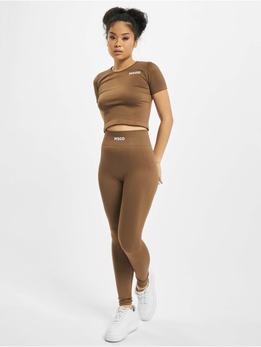 Missguided T-Shirt Seamless Rib brown