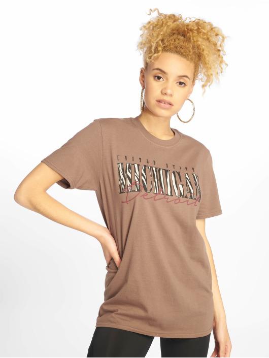 Missguided t-shirt Michigan Leopard Print bruin