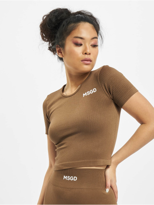 Missguided t-shirt Seamless Rib bruin