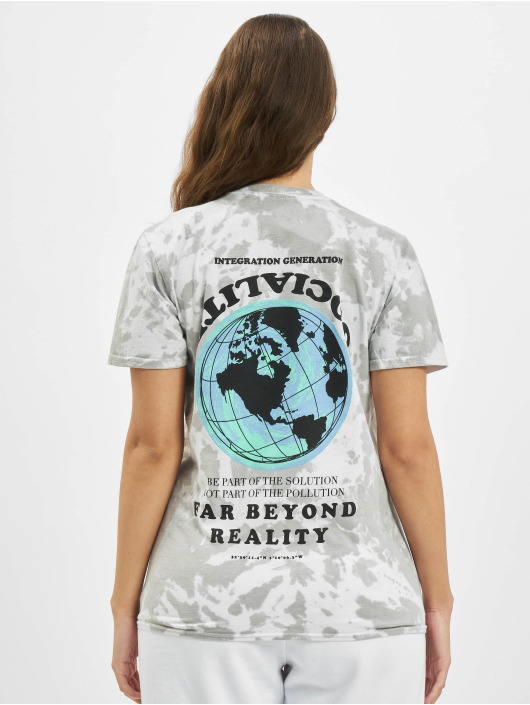 Missguided T-Shirt Tie Dye Socialite Earth Graphic Short Sleeve gray