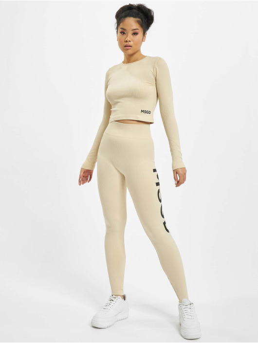 Missguided T-Shirt manches longues Seamless Rib beige