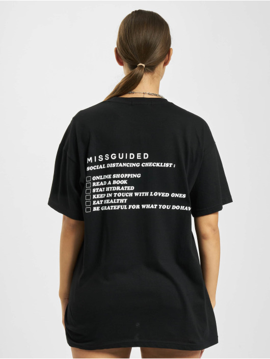 Missguided T-Shirt Social Distancing noir