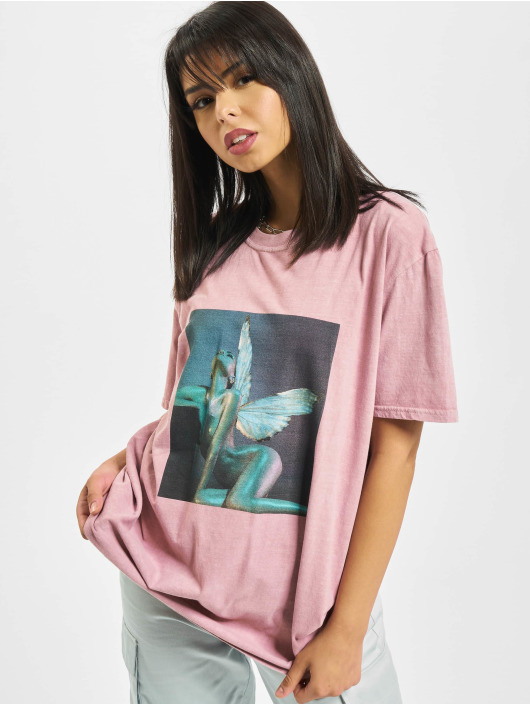 Missguided T-Shirt Overdyed Wings Photographic rosa