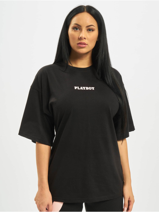 Missguided T-Shirt Playboy Mansion Magazine OS schwarz