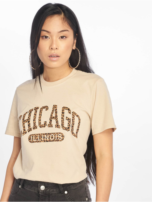 Missguided T-Shirty Chicago Leopard Graphic bezowy