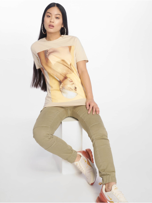 Missguided T-Shirty Ariana Grande Licensed bezowy