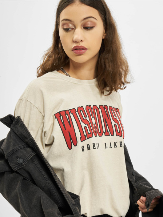Missguided T-Shirty Wisconsin Grapihc Short Sleeve Oversized bezowy