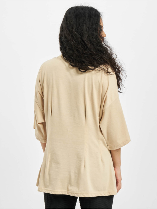 Missguided T-Shirty Structured Body Oversize bezowy