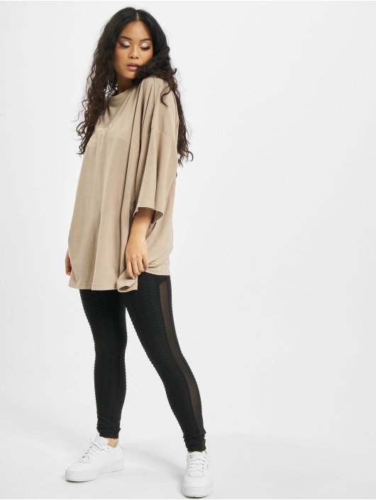 Missguided T-Shirty Washed Missguided Dropped Shoulder bezowy