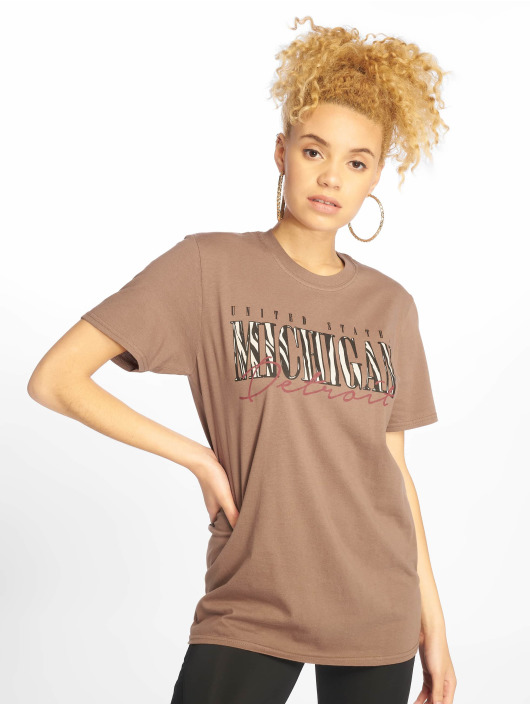 Missguided T-Shirty Michigan Leopard Print brazowy