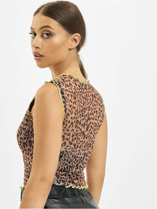 Missguided T-Shirty Contrast Binding Leopard Print Mesh brazowy