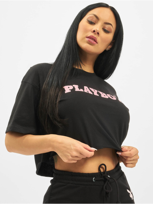 Missguided T-Shirty Playboy Cropped Lounge czarny