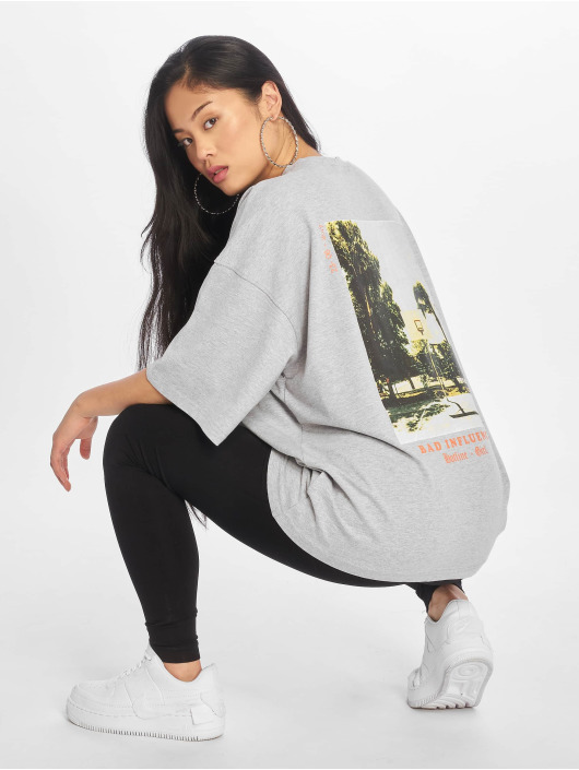 Missguided T-Shirty Bad Influence Graphic szary