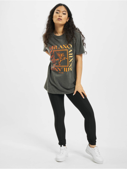 Missguided T-Shirty Milano Multi Graphic Ss Oversized szary
