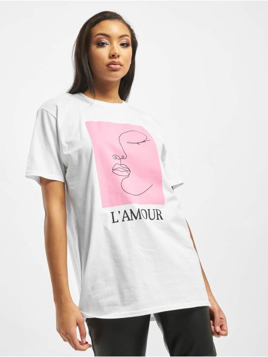 Missguided T-skjorter Lamour Face Oversized Graphic hvit