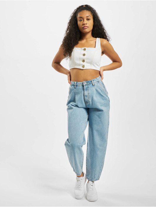 Missguided Top Contrast Stitch Coord blanco