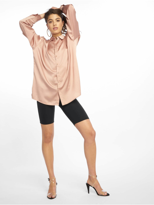Missguided Top Oversized Satin gold colored