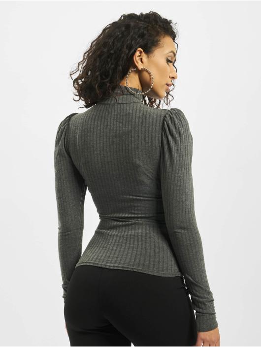 Missguided Top Rib High Neck Puff Sleeve grå