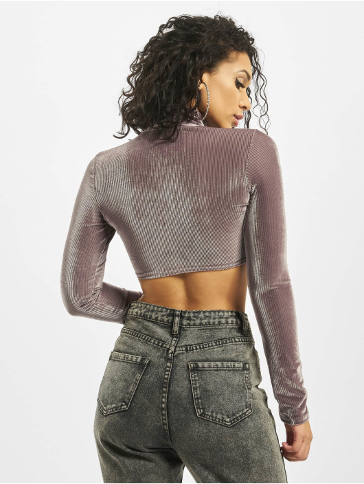 Missguided Top Corded Velvet Long Sleeve gray