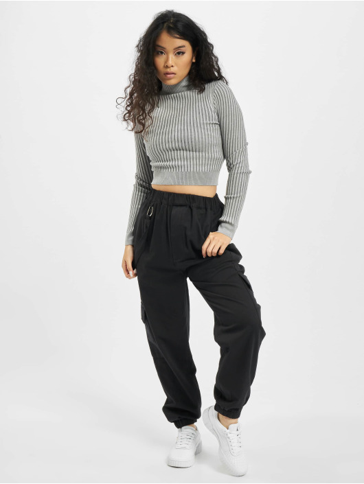 Missguided Top 2 Tone Knit Ribbed High Neck gray