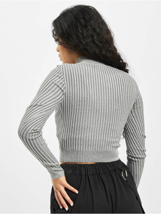 Missguided Top 2 Tone Knit Ribbed High Neck grey